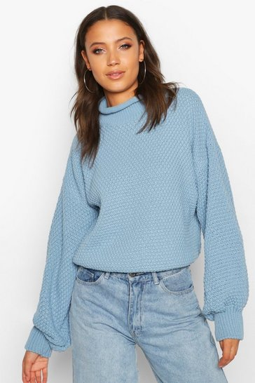 Womens Dusty blue Tall Chunky Funnel Neck Jumper