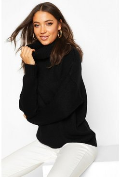 Womens Black Tall Oversized Roll Neck Laguna Jumper
