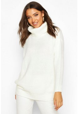Ecru Tall Oversized Roll Neck Laguna Jumper