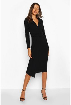 Black Tall Self Fabric Belted Midi Blazer Dress