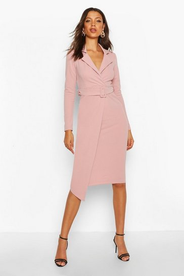 Rose Tall Self Fabric Belted Midi Blazer Dress