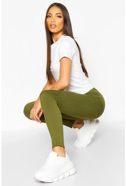 Khaki Tall - Ribbade leggings i jersey