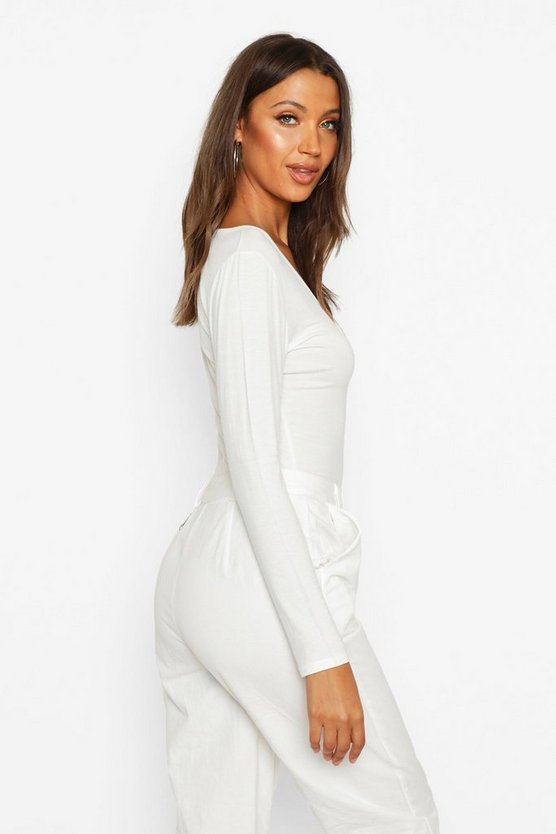 Tall Basic Ruched Front Long Sleeve Top