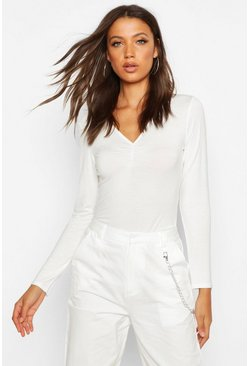 Womens White Tall Basic Ruched Front Long Sleeve Top