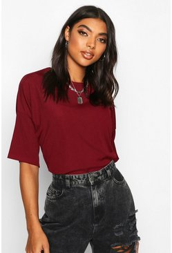 Womens Berry Tall Drop Shoulder Rib T-Shirt
