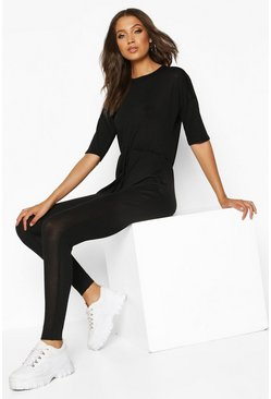 Black Tall Tie Waist Lounge Jumpsuit