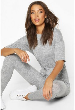Grey Tall Tie Waist Lounge Jumpsuit
