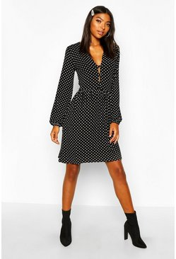 Black Tall Polka Dot Button Through Smock Dress