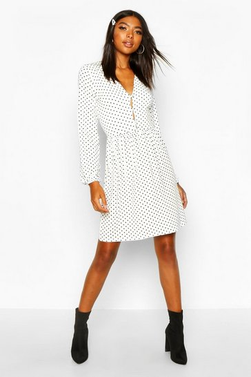 White Tall Polka Dot Button Through Smock Dress