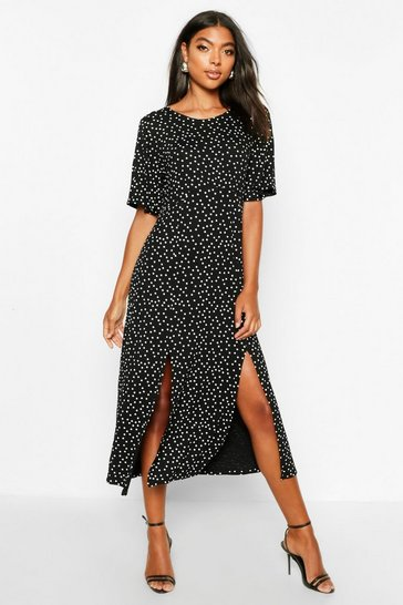 Black Tall Angel Sleeve Polka Dot Midi Dress