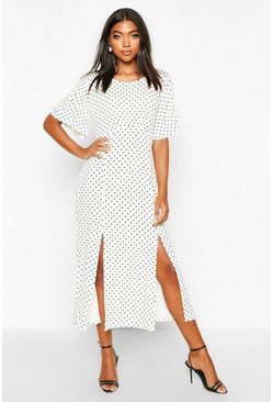 White Tall Angel Sleeve Polka Dot Midi Dress