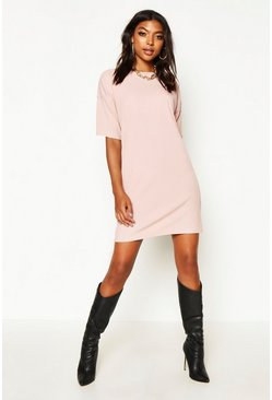 Tall Geripptes Oversized T-Shirt-Kleid, Blassrosa, Damen