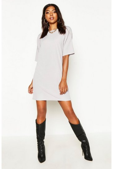 Grey Tall Oversized Slouch Rib T-Shirt Dress