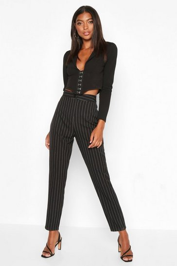 Black Tall Pinstripe Tapered Trousers