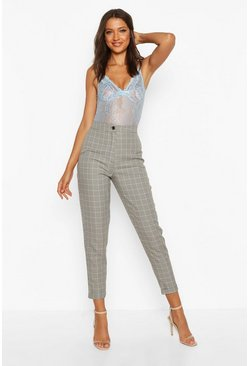 Womens Brown Tall Check Tapered Trousers