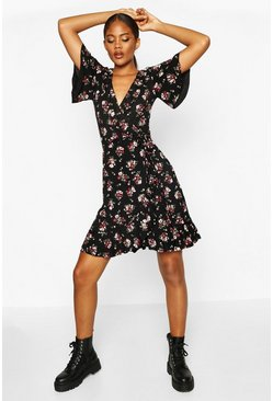 Black Tall Floral Print Ruffle Wrap Dress