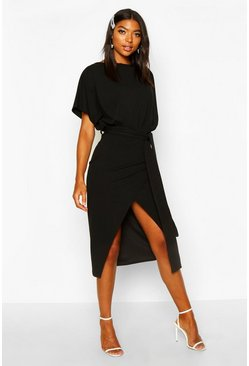 Womens Black Tall Angel Sleeve Belted Wrap Midi Dress