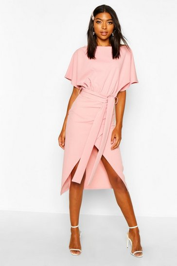 Womens Rose Tall Angel Sleeve Belted Wrap Midi Dress