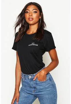 Black Tall 'Not Interested' Slogan Pocket Print T-Shirt