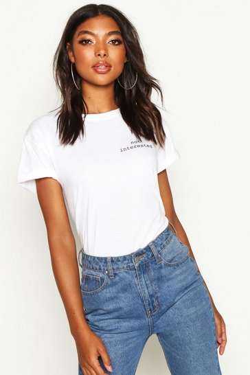 Womens White Tall 'Not Interested' Slogan Pocket Print T-Shirt