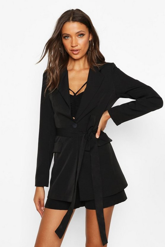 Black Tall Belted Woven Blazer