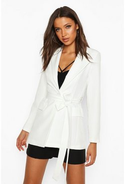 Womens Ivory Tall Belted Woven Blazer