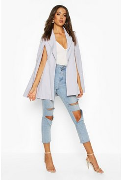 Grey Tall Woven Cape Blazer