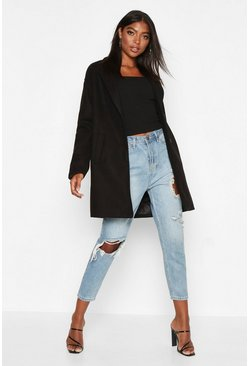 Womens Black Tall Boxy Oversized Wool Look Coat