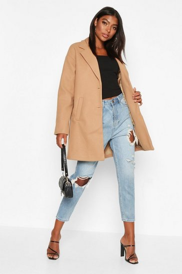 Womens Camel Tall Boxy Oversized Wool Look Coat