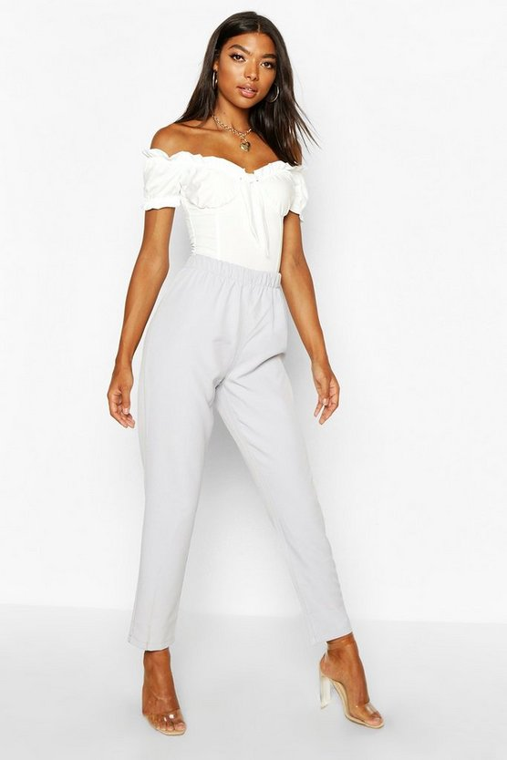 Grey Tall Woven Ankle Grazer Trousers