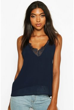 Womens Navy Tall Lace Trim Woven Cami