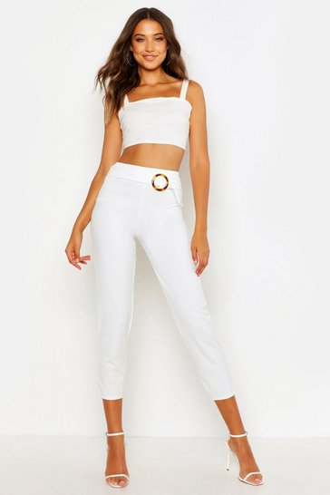 Womens Ivory Tall Buckle Detail Tapered Trousers