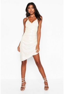 White Tall Iridescent Sequin Wrap Cami Dress