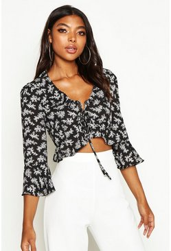 Dam Black Tall Floral Print Ruffle Lace Up Blouse