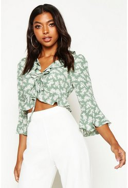 Womens Sage Tall Floral Print Ruffle Lace Up Blouse