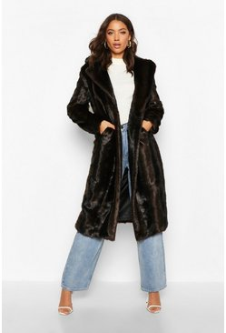 Womens Brown Tall Long Faux Fur Coat