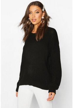 Womens Black Tall Crew Neck Jumper