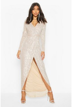 Womens Silver Tall Sequin Plunge Wrap Maxi Dress
