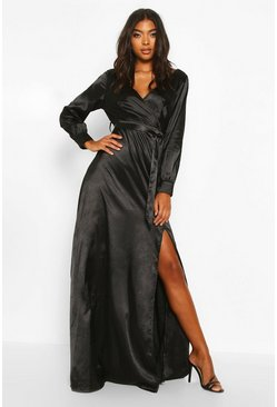 Black Tall Off The Shoulder Satin Maxi Dress