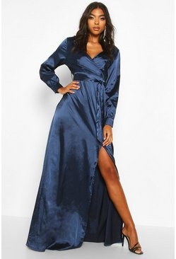Womens Navy Tall Off The Shoulder Satin Maxi Dress