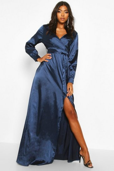 Navy Tall Off The Shoulder Satin Maxi Dress