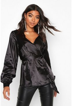 Black Tall Off The Shoulder Satin Blouse