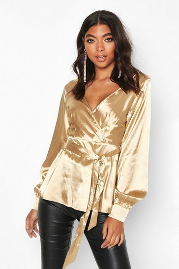 Womens Gold Tall Off The Shoulder Satin Blouse