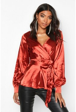 Womens Rust Tall Off The Shoulder Satin Blouse