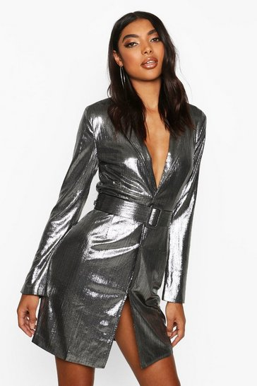 Womens Silver Tall Metallic Belted Blazer Dress