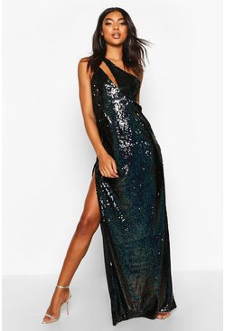 Black Tall Cut Out Detail Thigh Split Sequin Maxi Dress