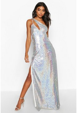 Womens Silver Tall Cut Out Detail Thigh Split Sequin Maxi Dress