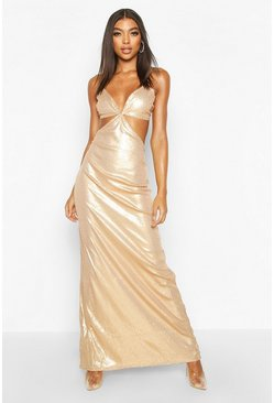 Gold Tall Cut Out Detail Strappy Sequin Maxi Dress