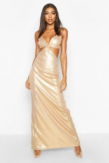 Womens Gold Tall Cut Out Detail Strappy Sequin Maxi Dress