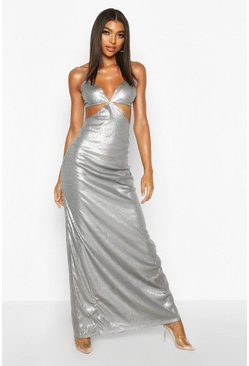 Womens Silver Tall Cut Out Detail Strappy Sequin Maxi Dress